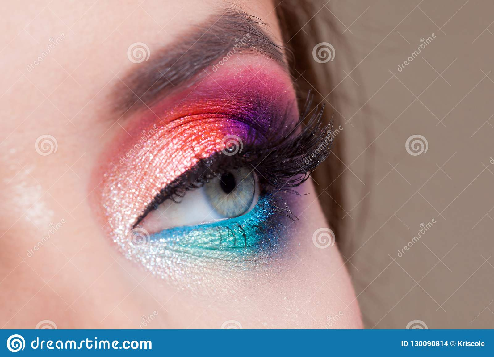 Bright Eye Makeup Pink And Blue Color Colored Eyeshadow Stock