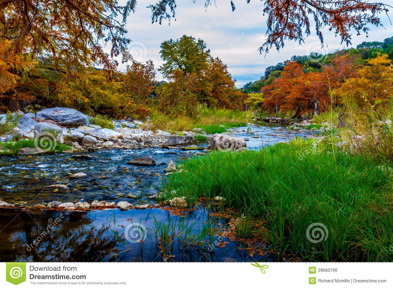 Bright Fall Colors Surrounding A Beautiful Hill Co Stock Photo ...