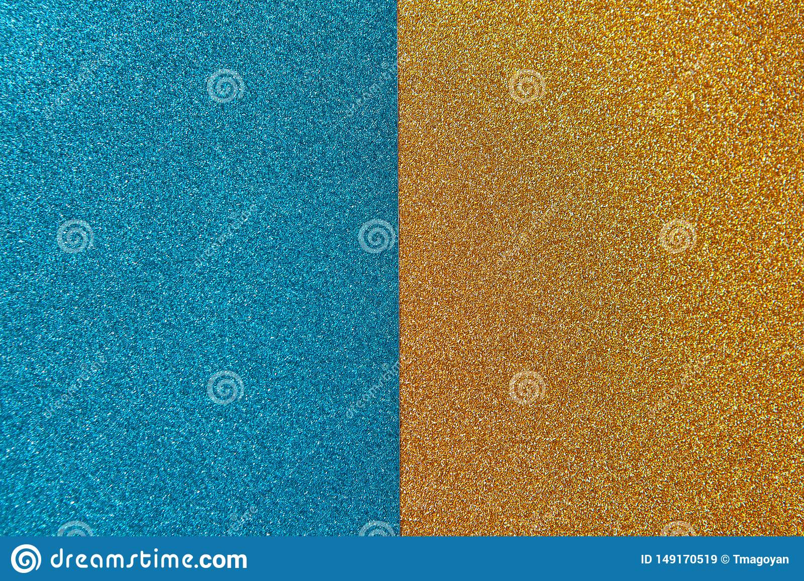 Bright festive brilliant background, consisting of two halves, blue and gold. Horizontal. Copy space for text.
