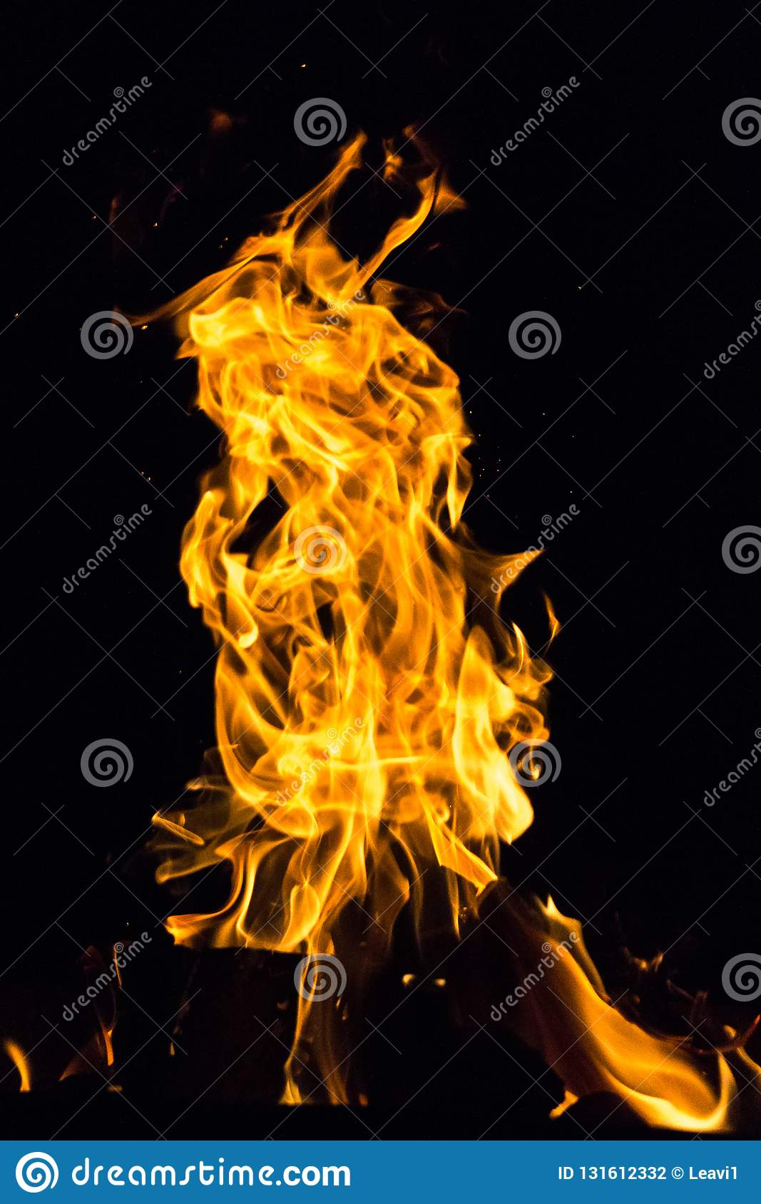 Bright flame of the night fire