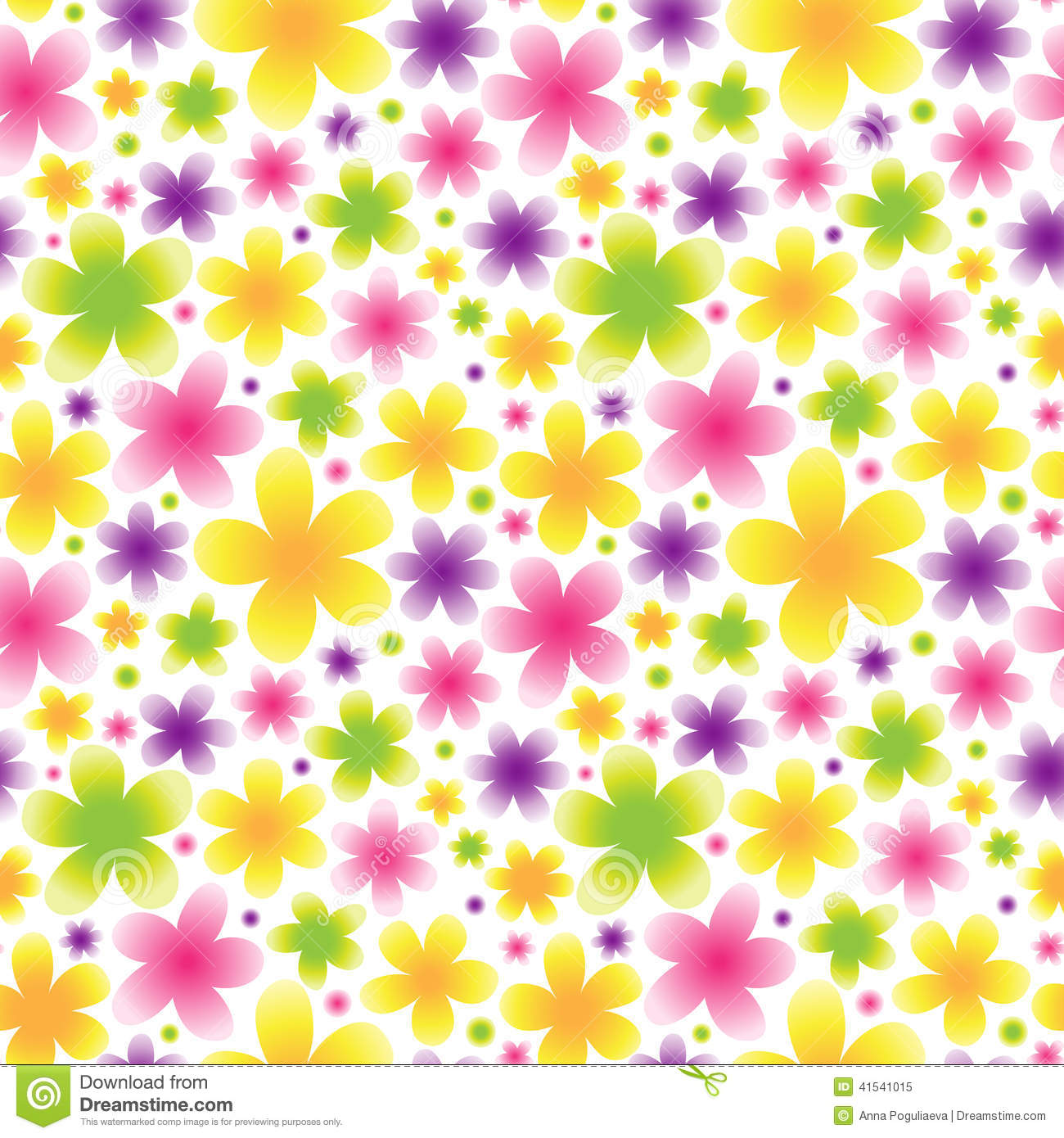 Bright Floral Seamless Pattern On Light Background. Stock ...