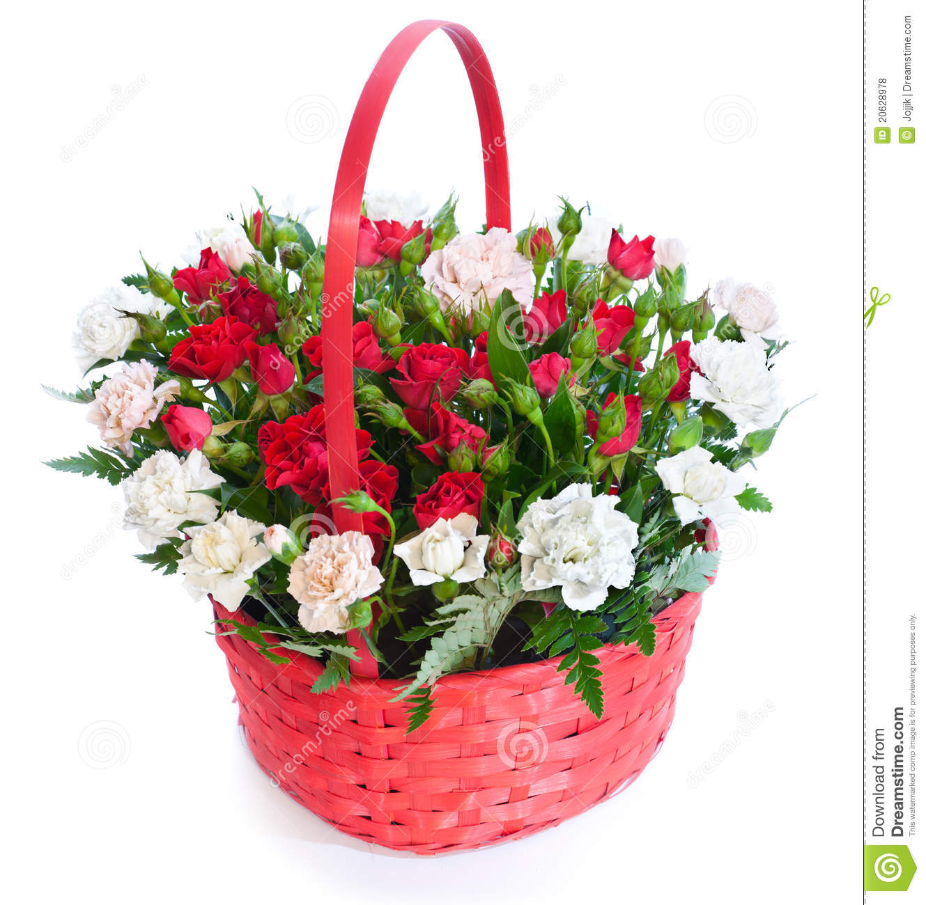 Bright Flower Bouquet In Basket Stock Photo Image Of Colorful