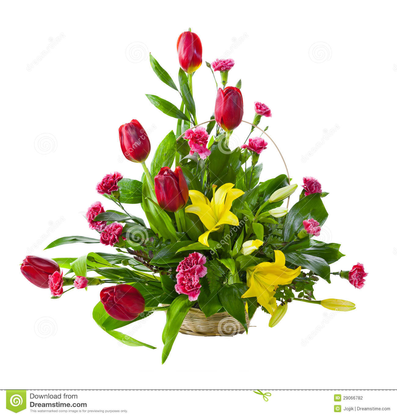 Bright Flower Bouquet In Basket Stock Photo Image Of Elegance