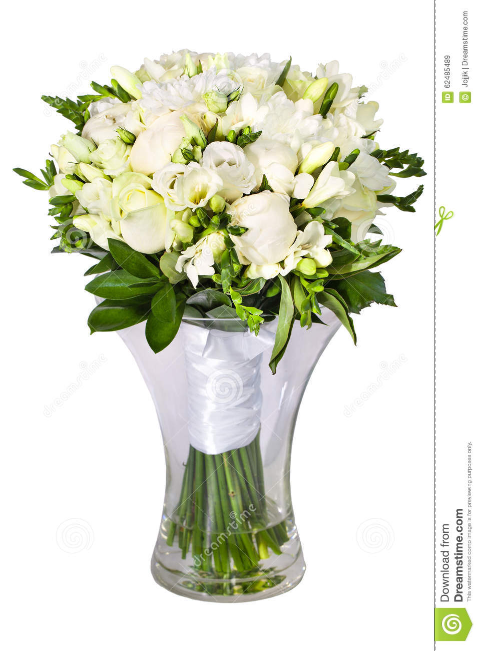 bright flower wedding bouquet in glass vase stock photo image 62485489. Black Bedroom Furniture Sets. Home Design Ideas