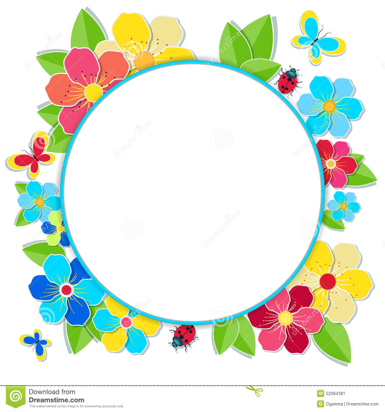 Bright frame with flowers butterflies and ladybug stock - Marcos para fotos redondos ...