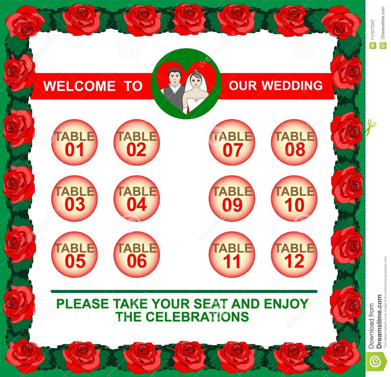 bright frame made of roses and a guest list wedding seating chart