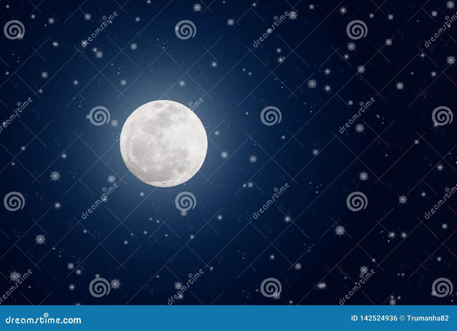 Bright Full Moon and Twinkle Stars in Dark Blue Night Sky