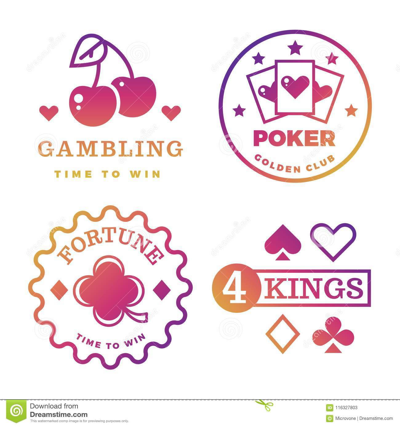 Bright gambling, casino, poker royal , roulette vector labels