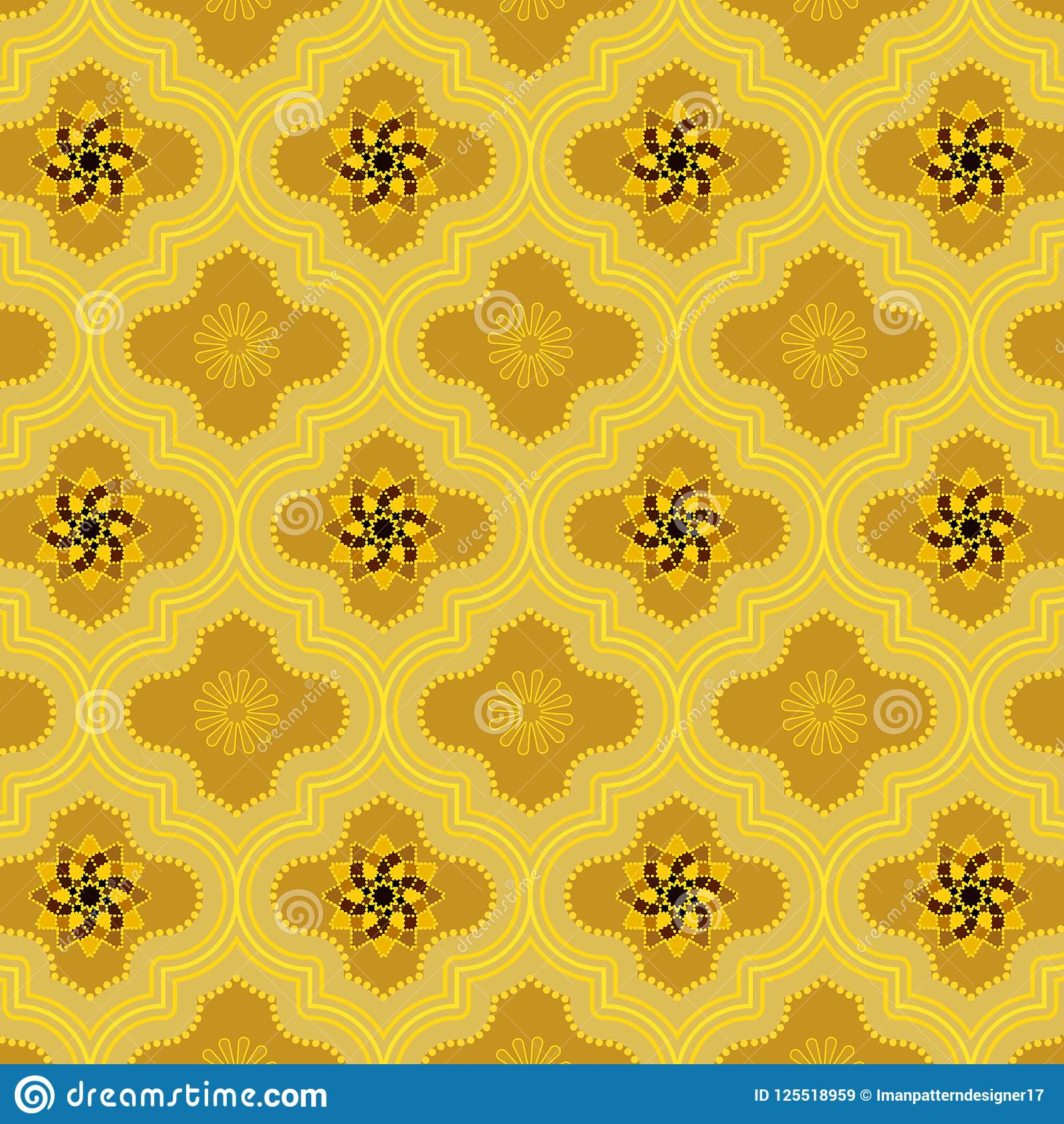 Bright Golden Decorated Moroccan Seamless Pattern With Cute Floral Designs Stock Vector Illustration Of Design Bright 125518959