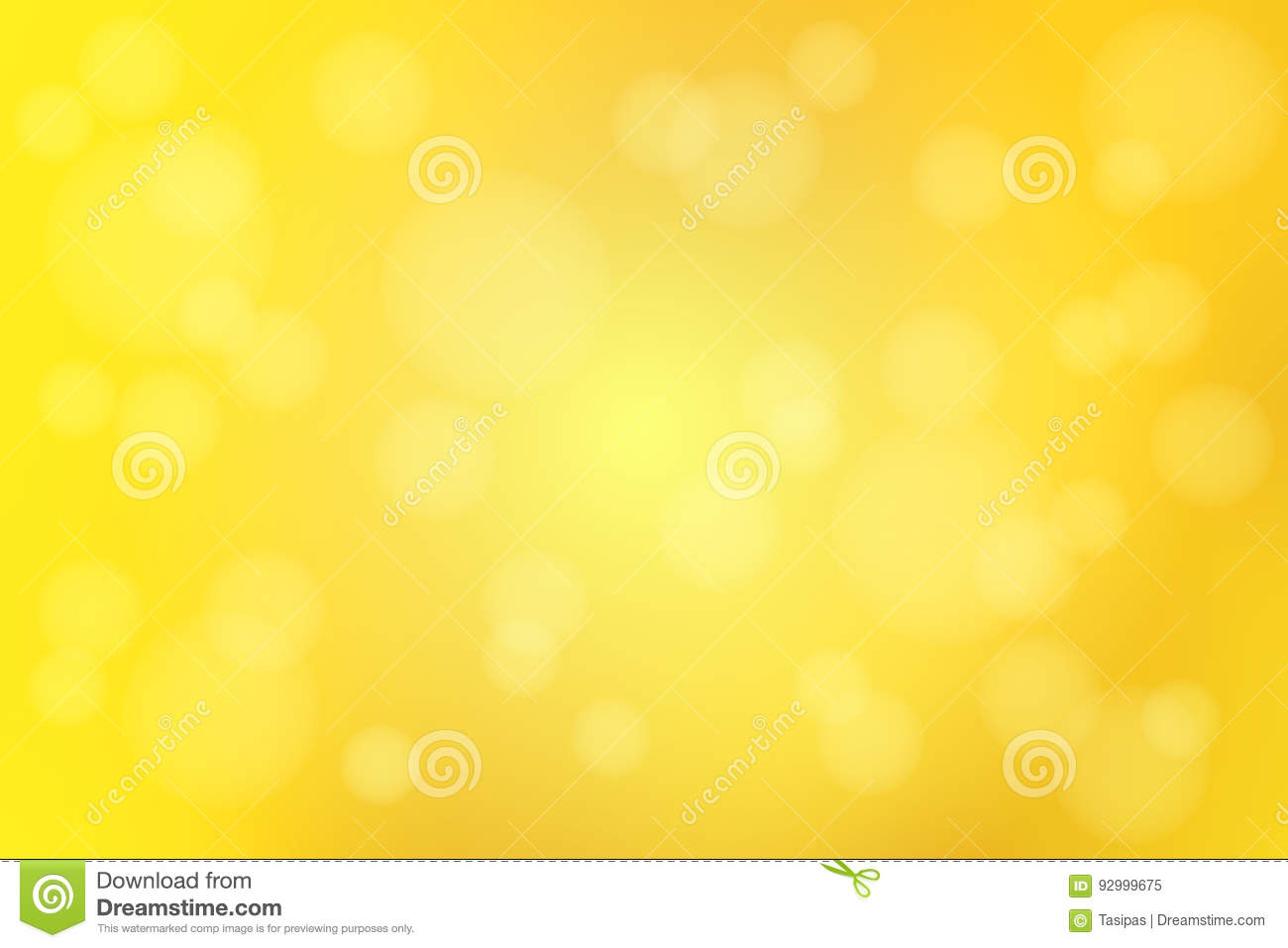 Bright golden yellow abstract with bokeh lights blurred background