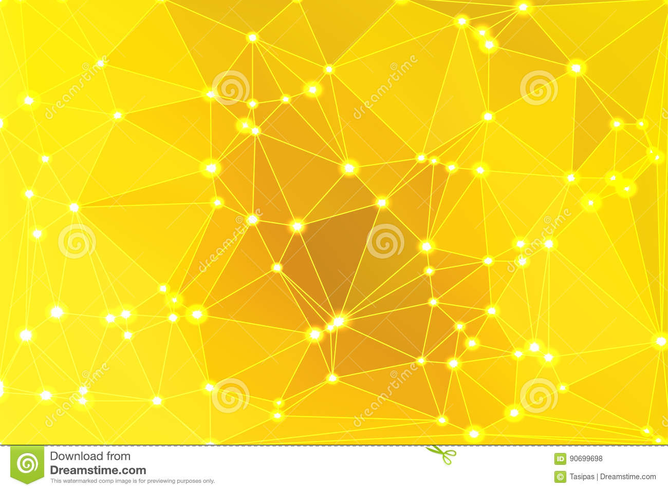 Bright golden yellow geometric background with mesh and lights