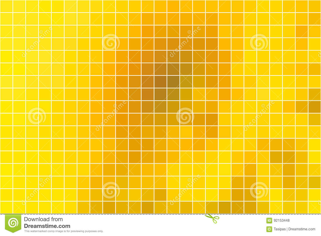 Bright golden yellow square mosaic background over white