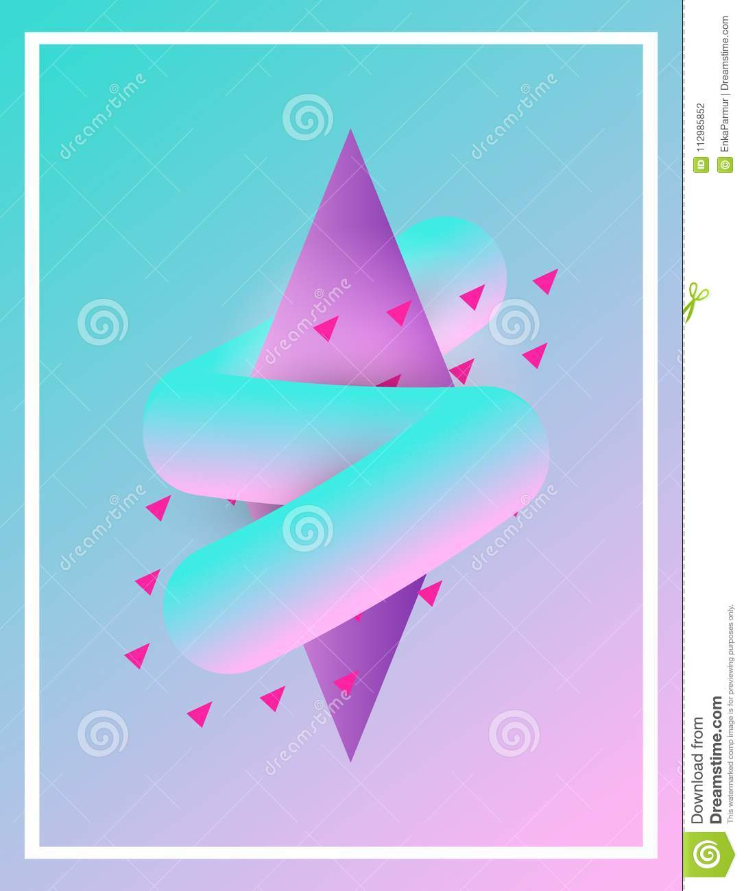Bright gradient abstract shape poster