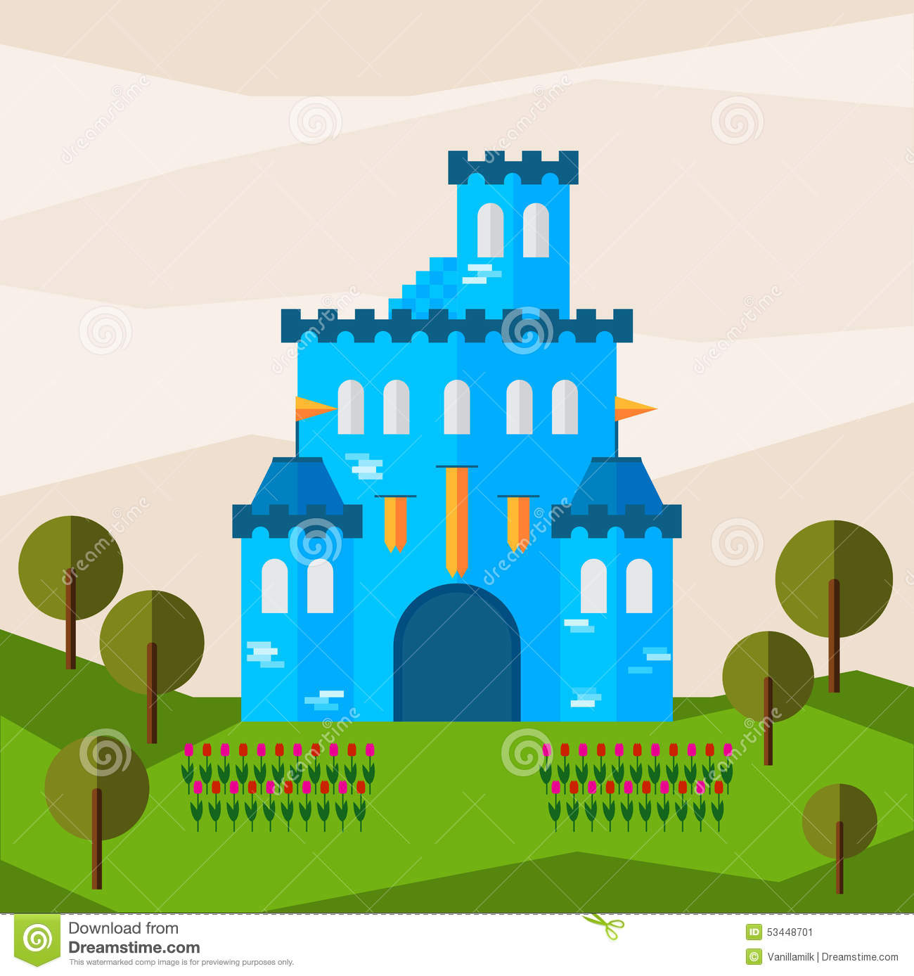 Bright Graphic Illustration With Cartoon Blue Colored