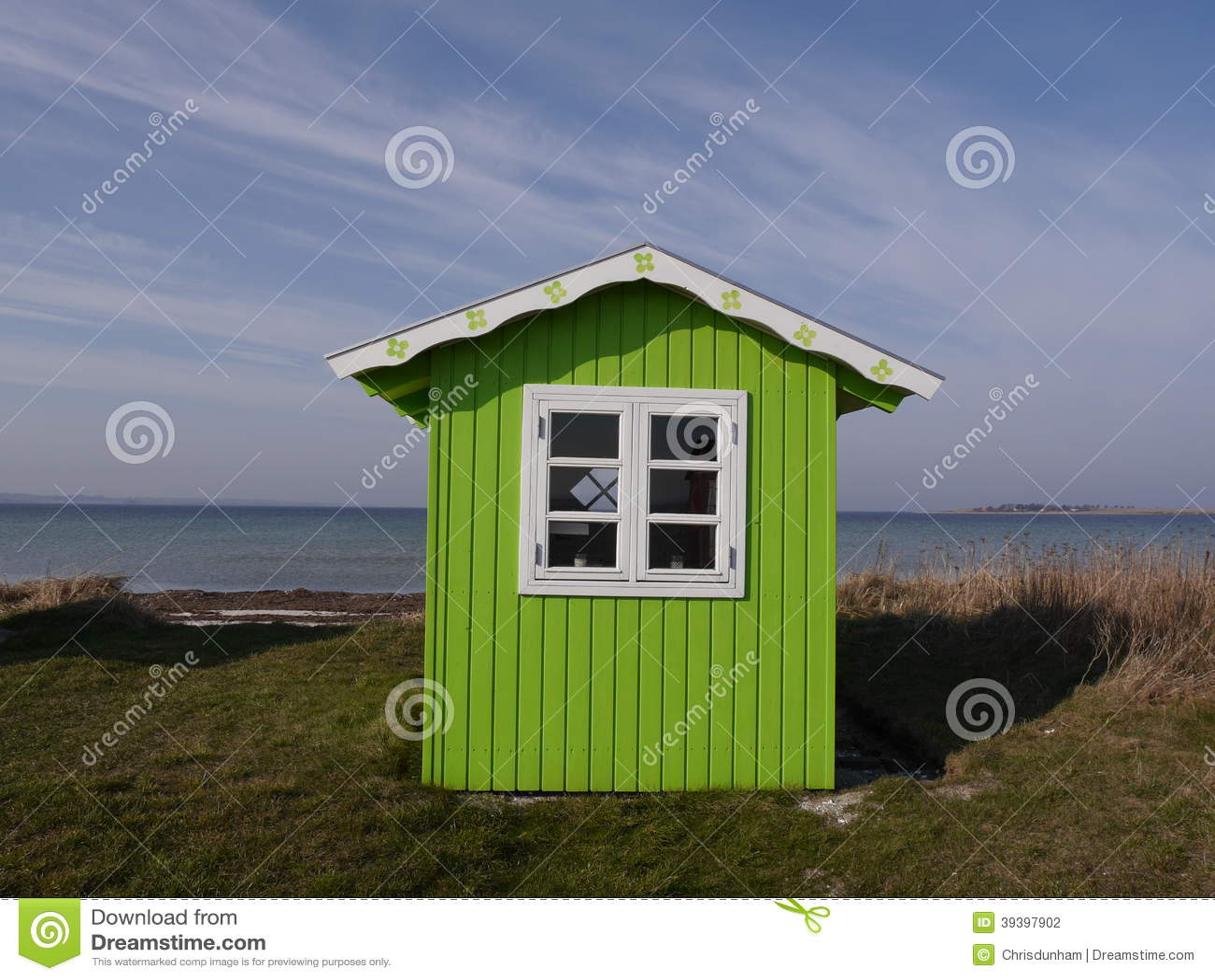 Bright Green Beach Hut On Danish Island Of Aeroe With Background Of ...