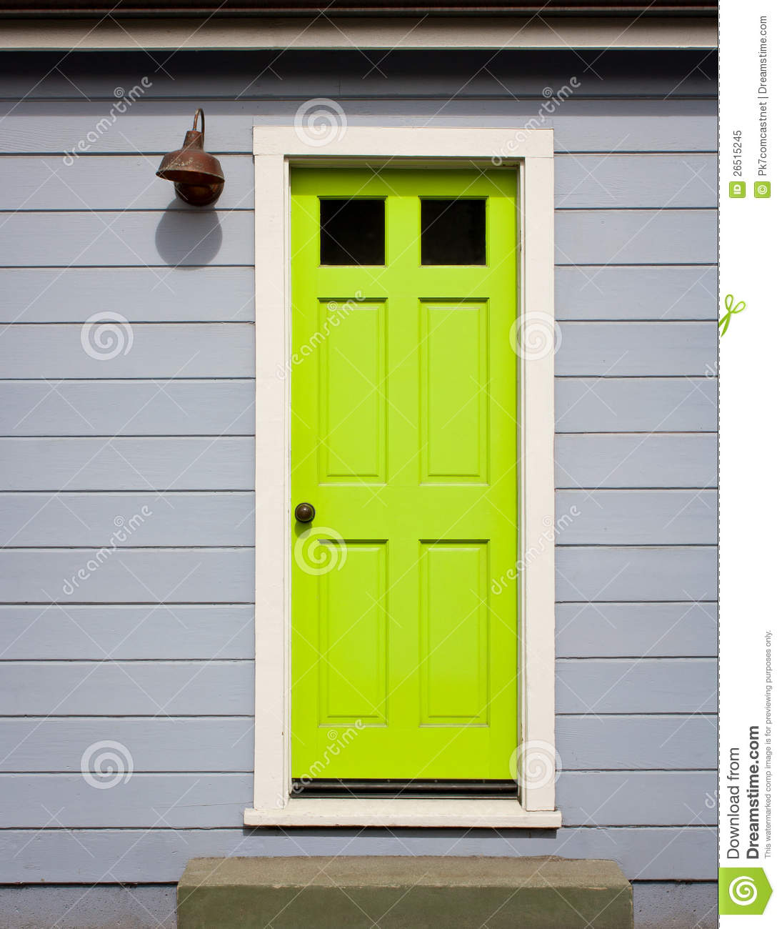 1300 #95B714 Bright Lime Green Door With White Wood Trim In A Light Gray Wood  save image Green Front Doors 47971095