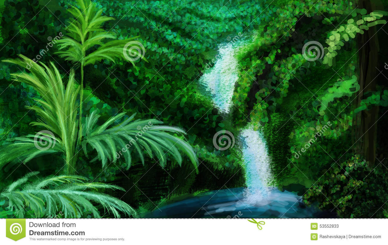 Bright green jungle and waterfall
