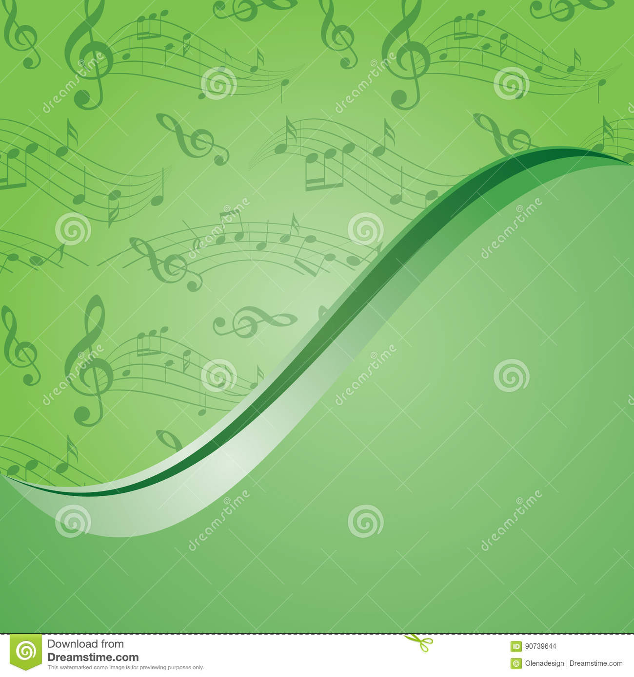 Bright green music background - vector with gradient