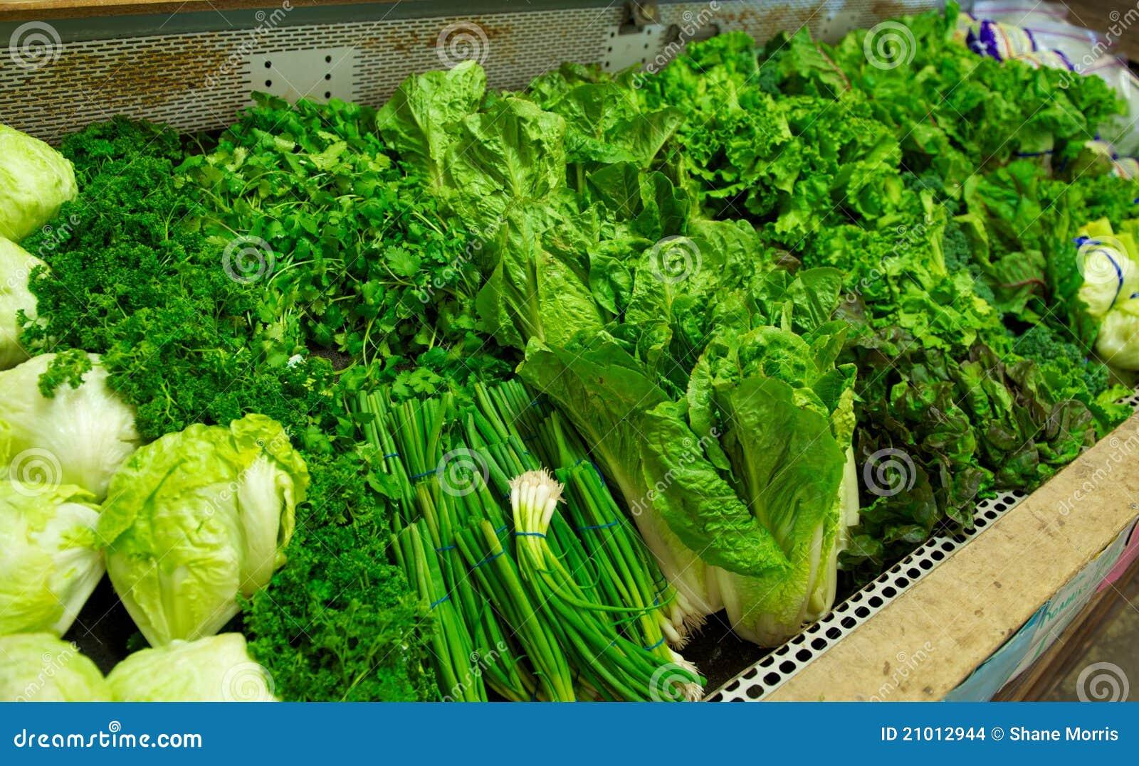 Bright Green Produce in Grocery Store Bin