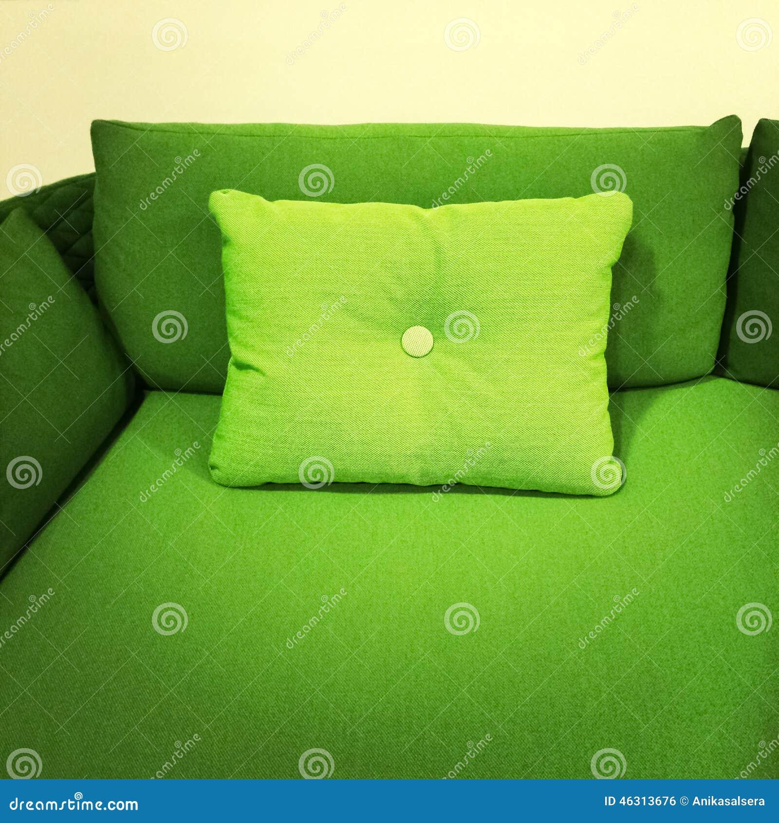 bright green sofa with cushion stock photo image 46313676
