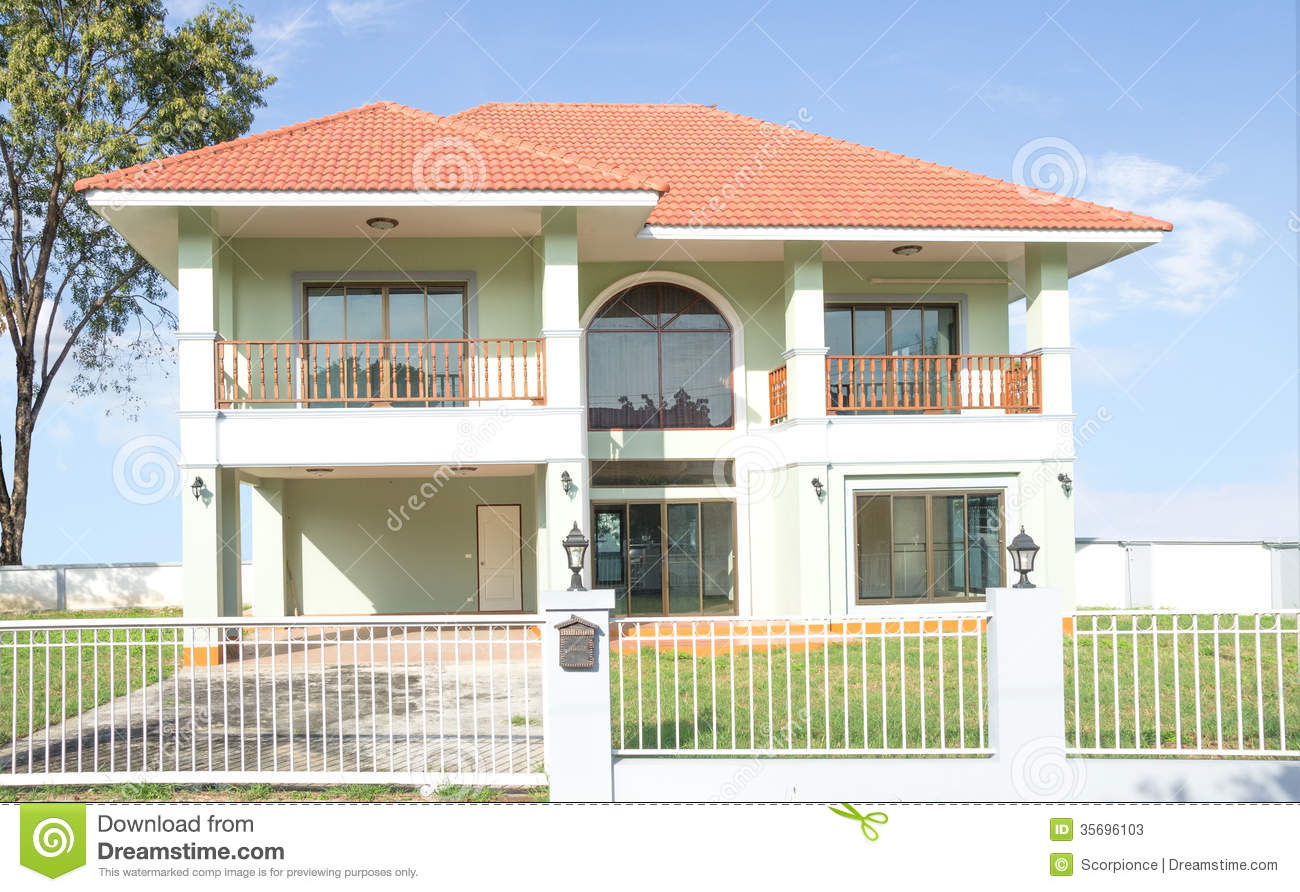 Bright Green House Bright Green And White House Stock Photos Image 35696103