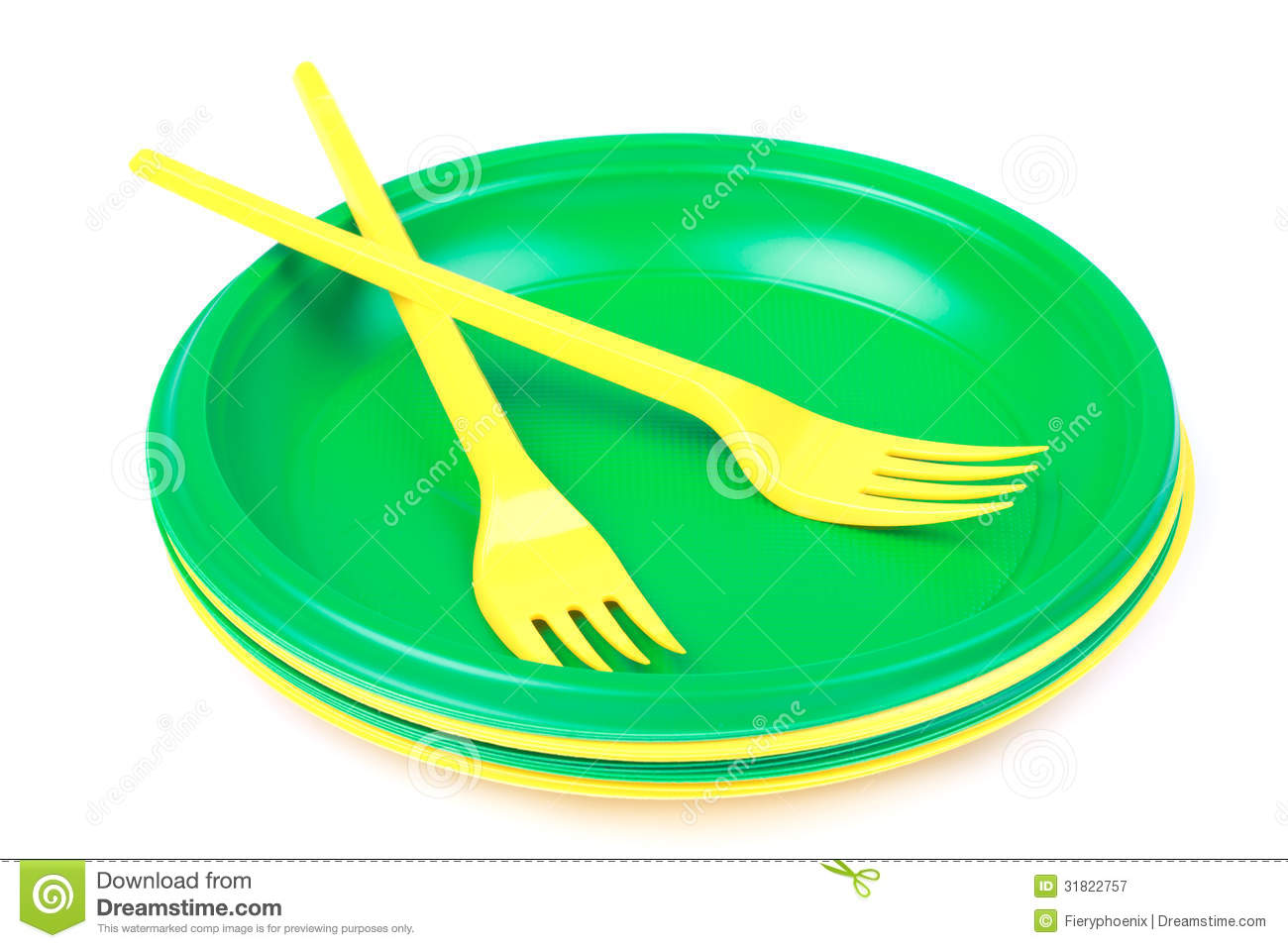 Bright Green And Yellow Plastic Disposable Tableware