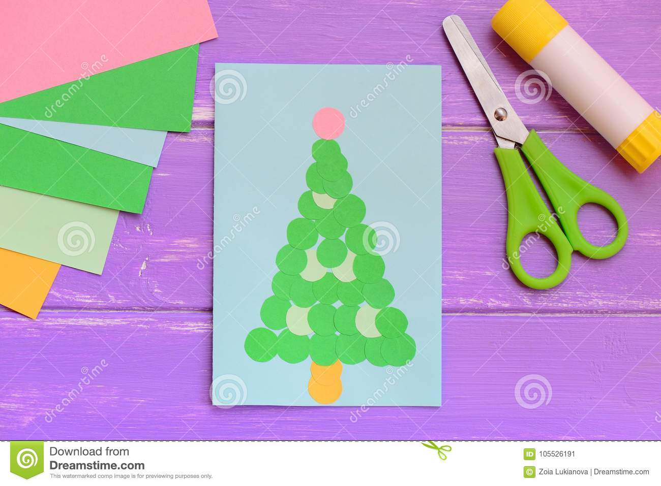 Bright Greeting Card With Christmas Tree Christmas Greeting Card