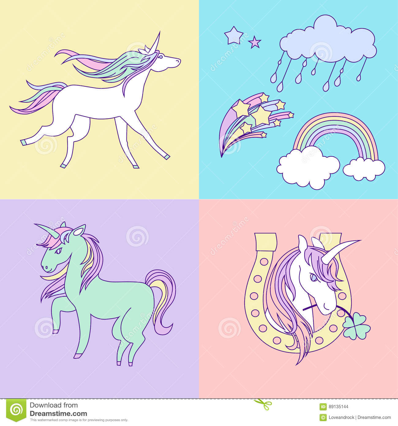 Bright Happy Birthday Card With Unicorns Clouds And Rainbow Stock