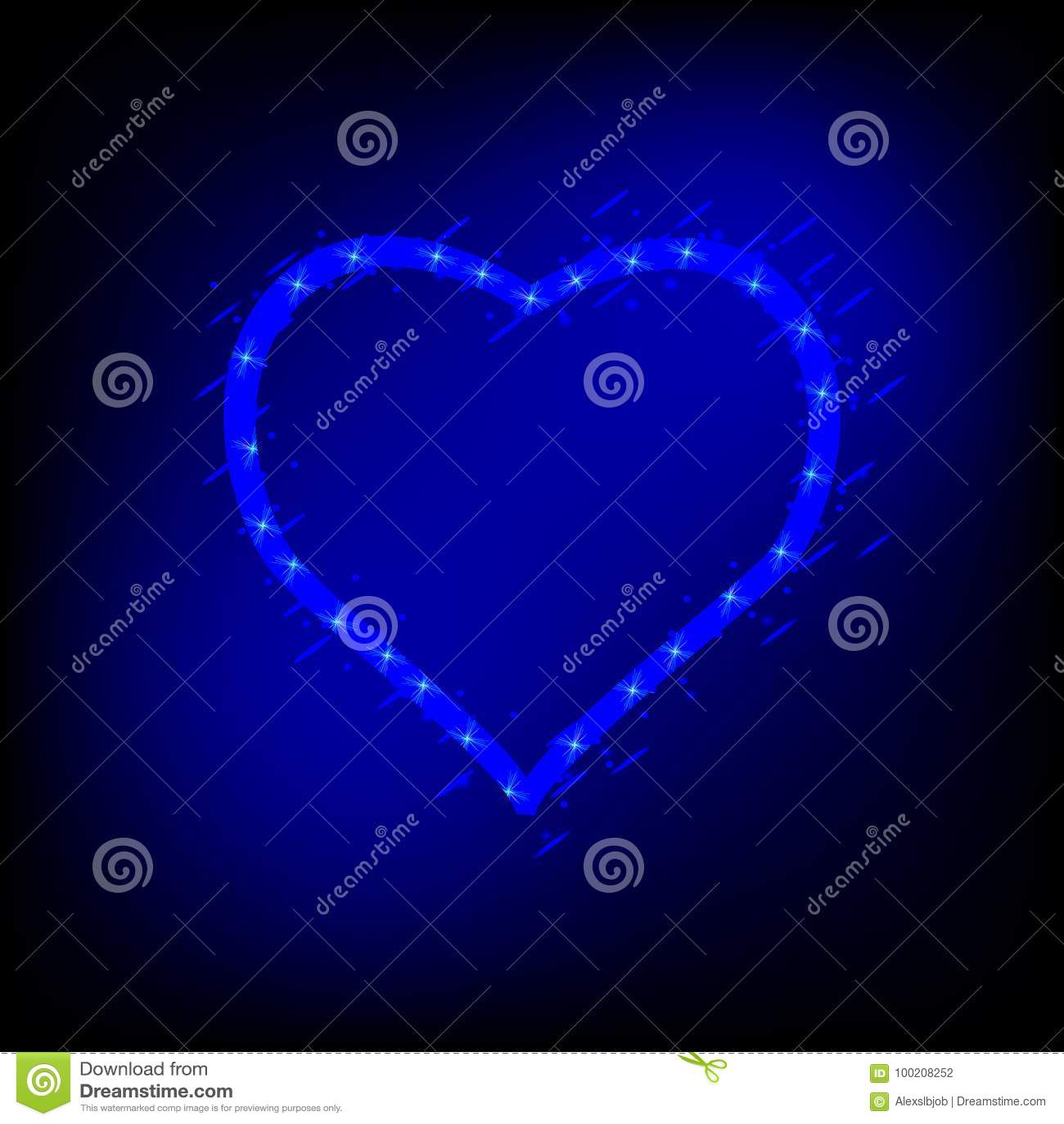 Bright Heart Neon Sign Retro Blue Neon Heart Sign On Dark