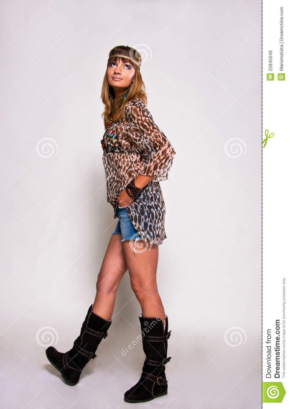 Bright hippie girl stock image. Image of concept brown - 25845049
