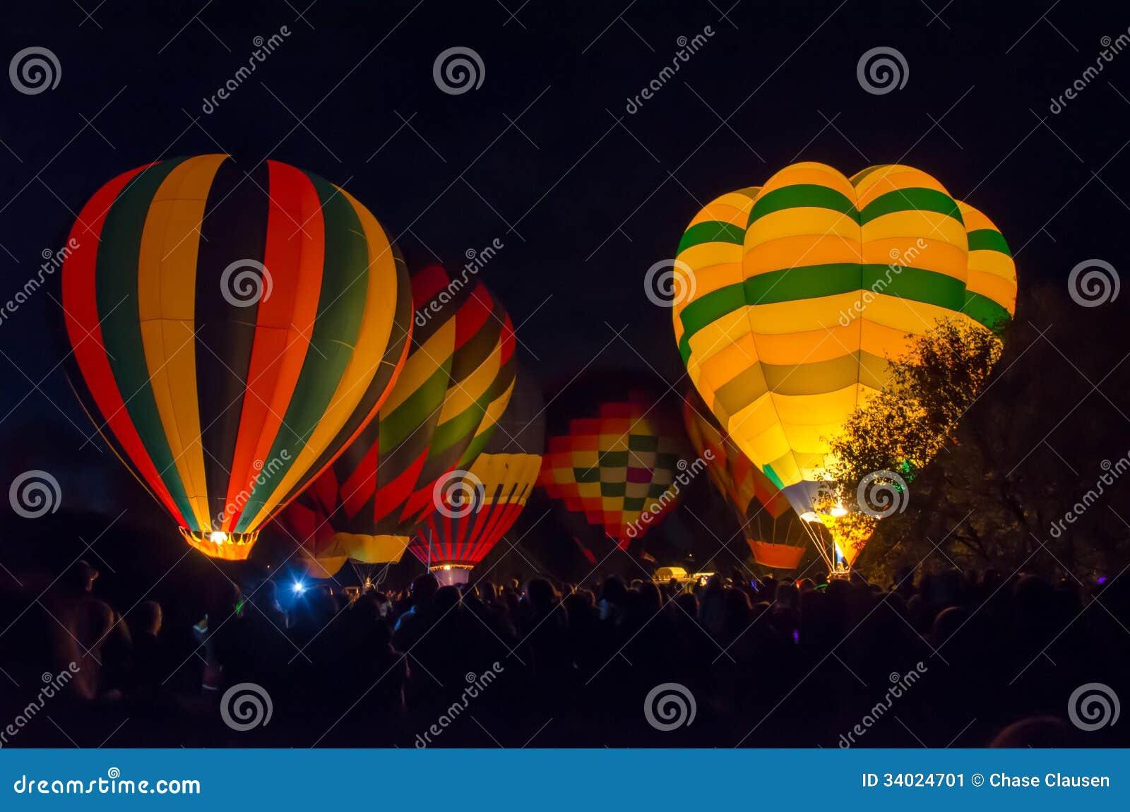 Bright Hot Air Balloons Glowing At Night Stock Image ...