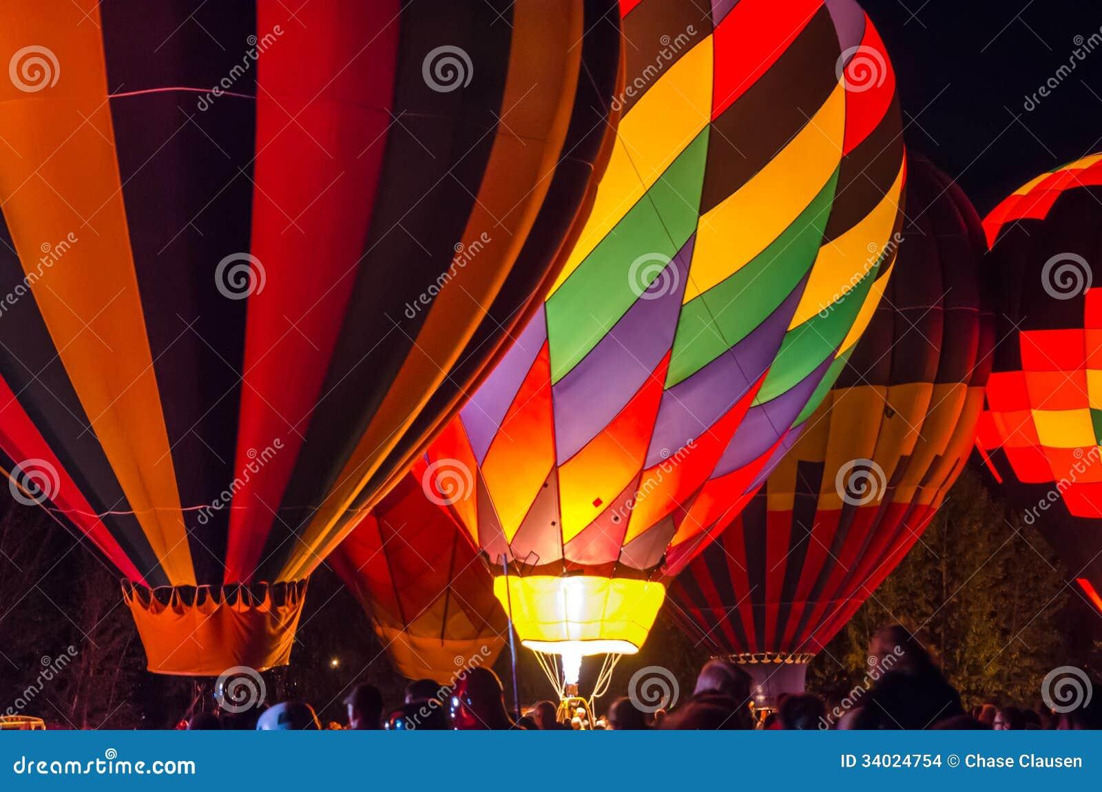 Bright Hot Air Balloons Glowing At Night Stock Images ...