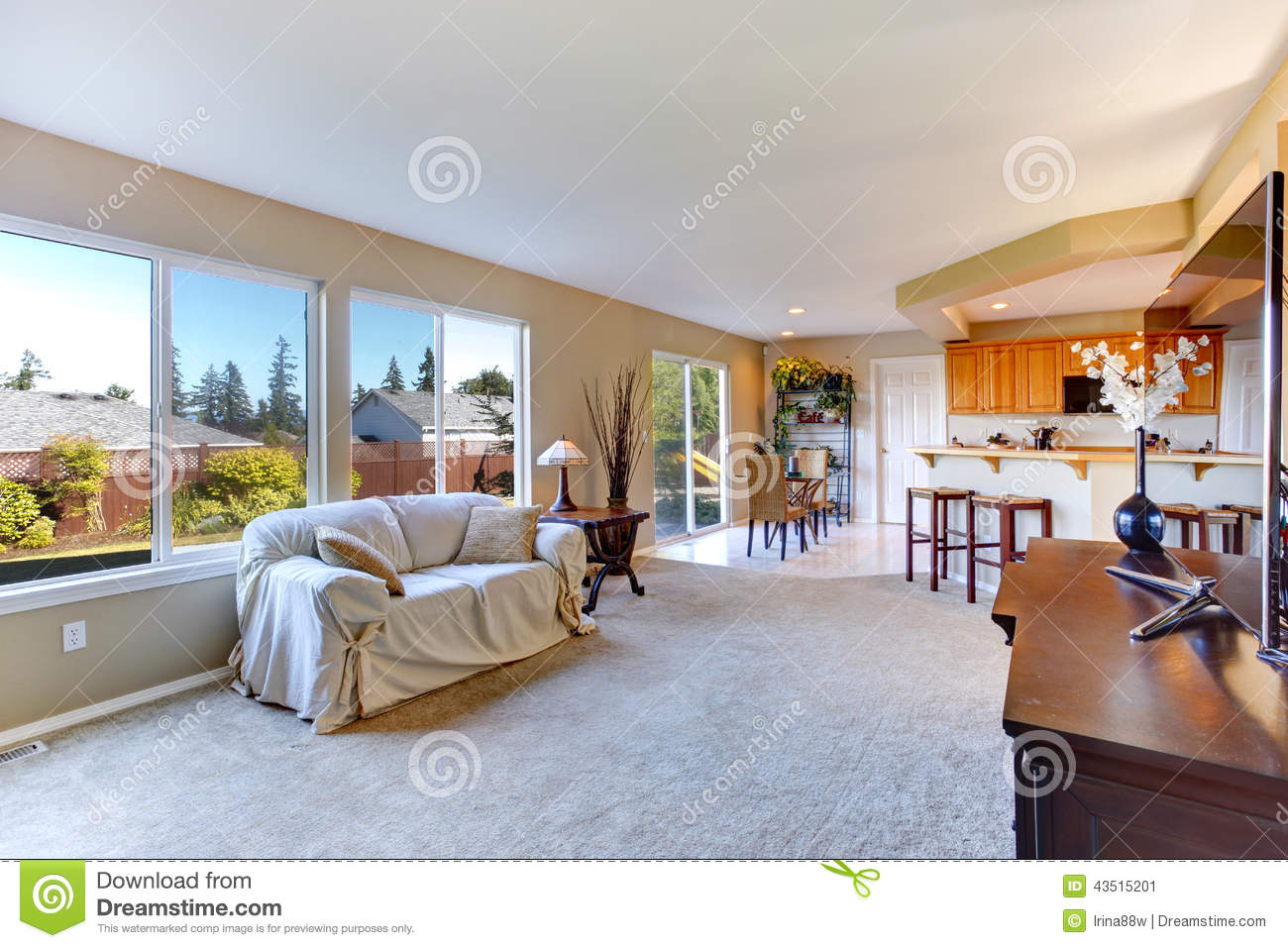 Bright House Interior Living Room With Kitchen Area Stock