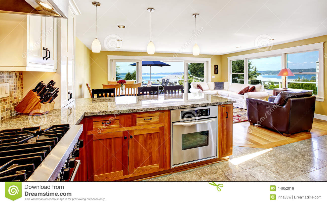bright house interior living room with walkout deck and kitchen stock photo image of image. Black Bedroom Furniture Sets. Home Design Ideas