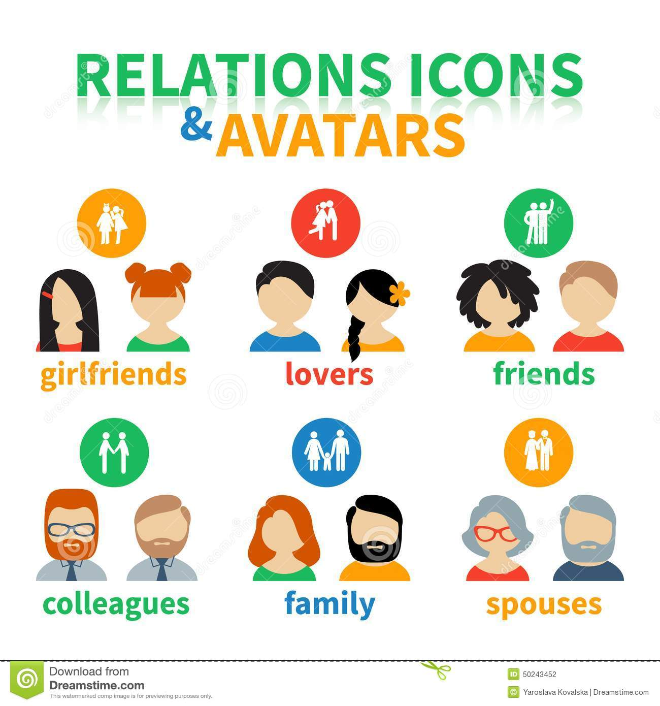Bright icons and avatars social relations stock vector for Relation sociale