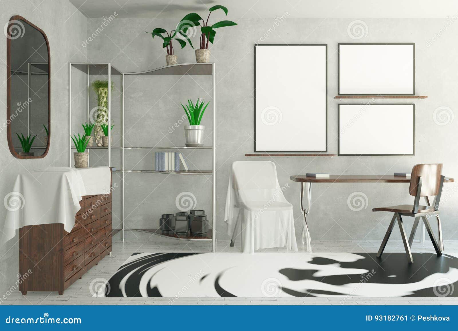 Bright Interior With Empty Frames Stock Illustration - Illustration ...