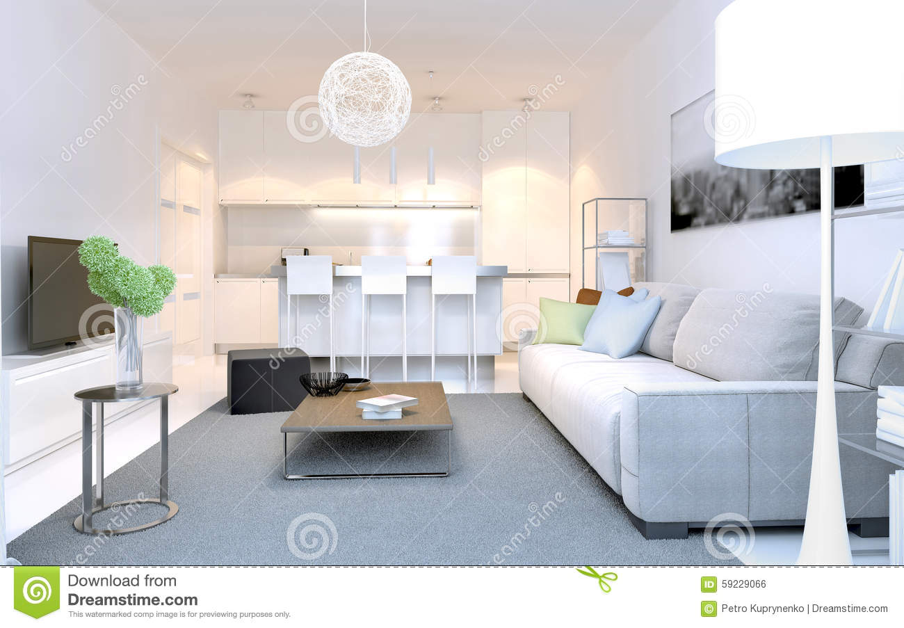 Bright Interior Of Modern Lounge Studio Stock Illustration