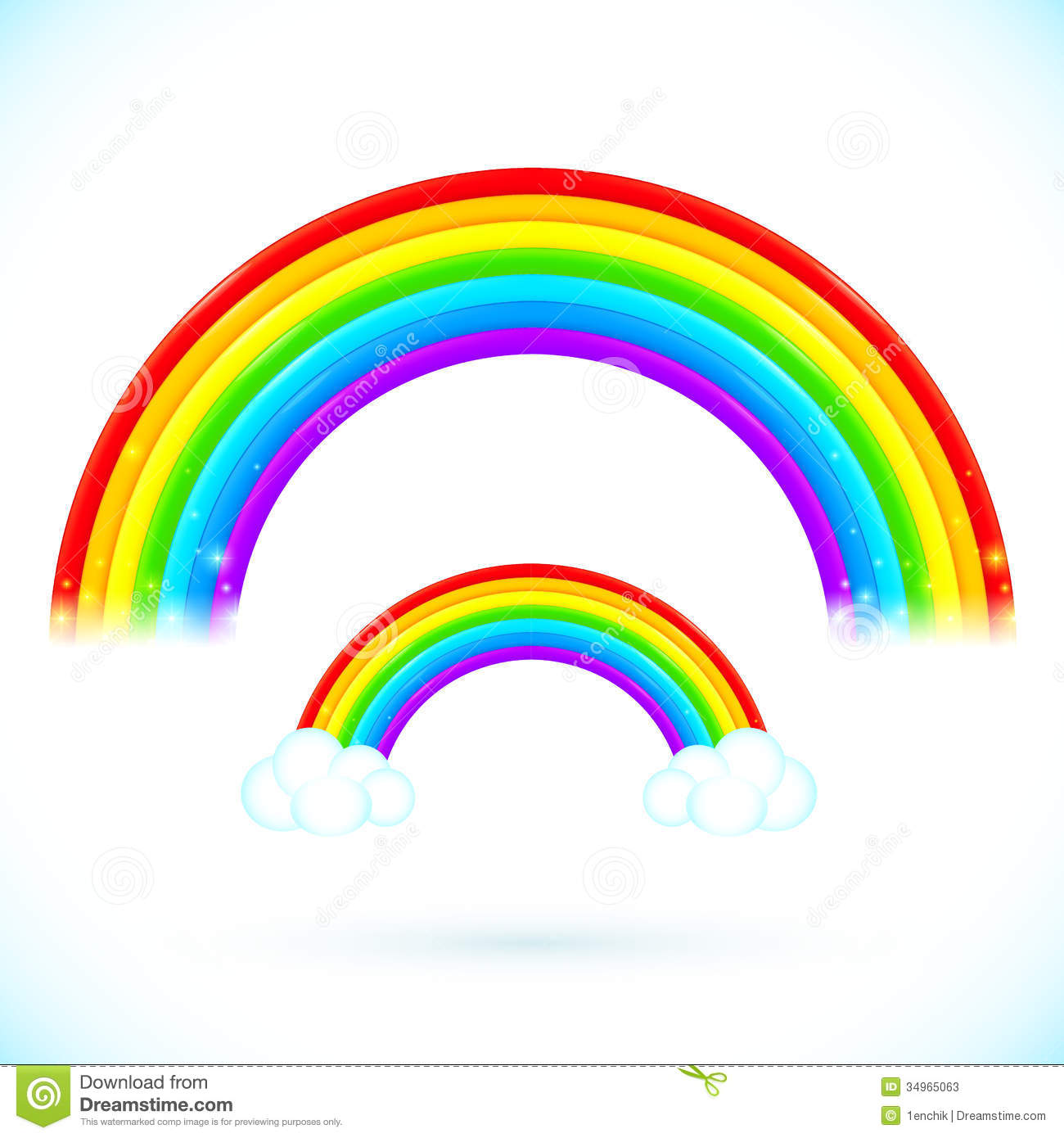 bright isolated vector rainbows with clouds stock photos image