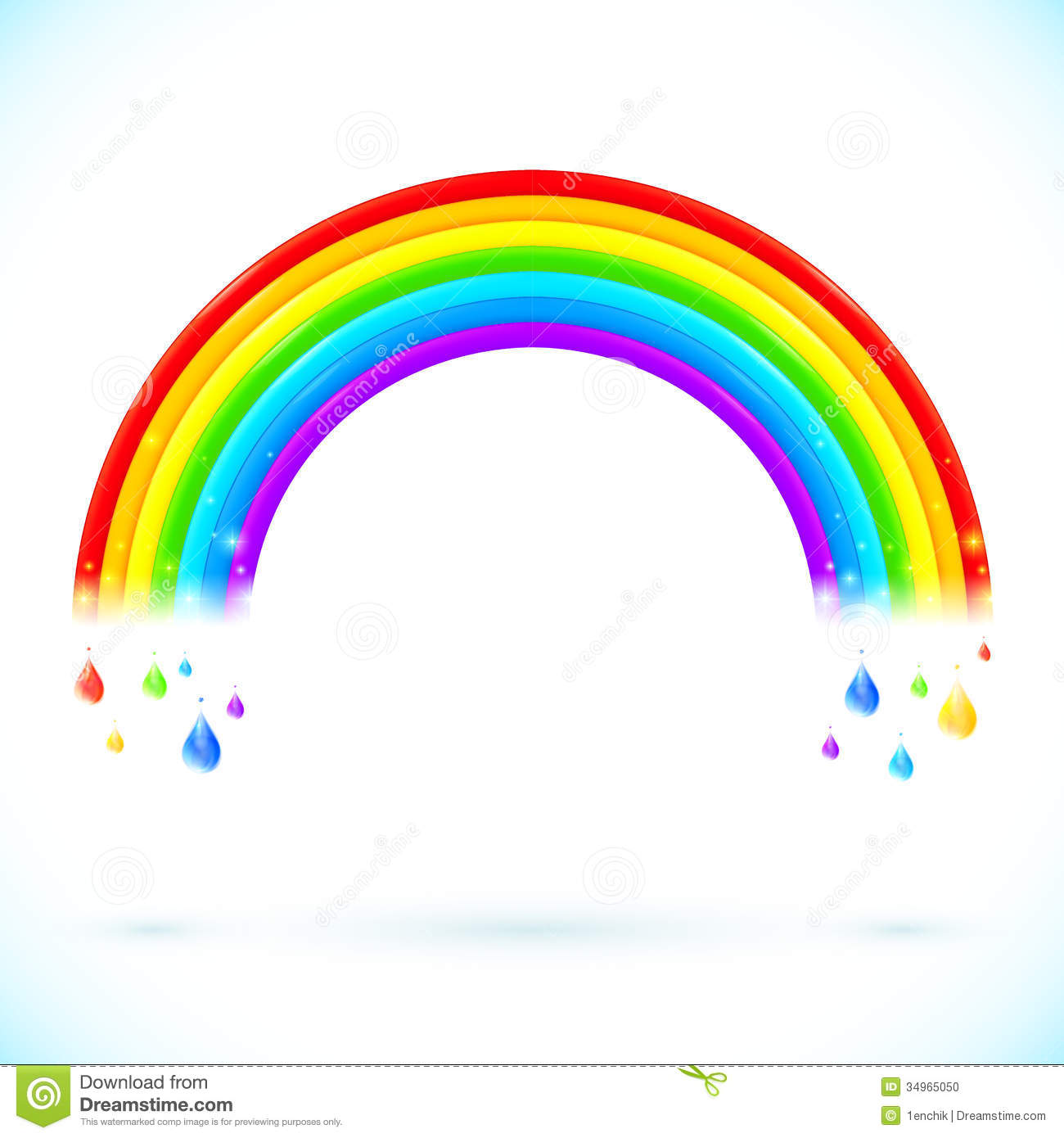 Bright Isolated Vector Rainbows With Color Drops Stock ...