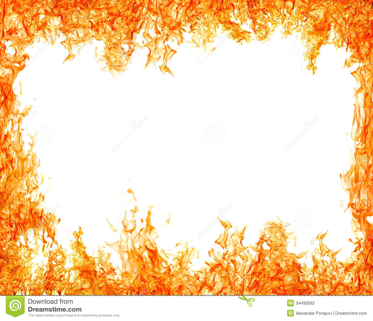 bright isolated on white orange flame frame stock photo image of