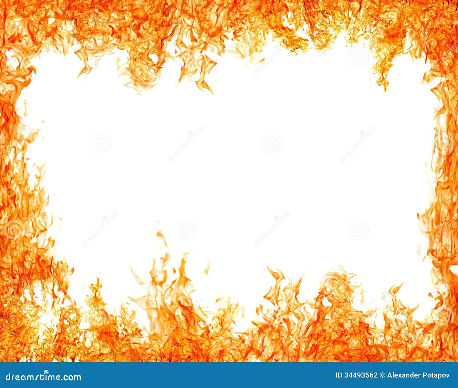 Bright Isolated On White Orange Flame Frame Stock Photography - Image ...