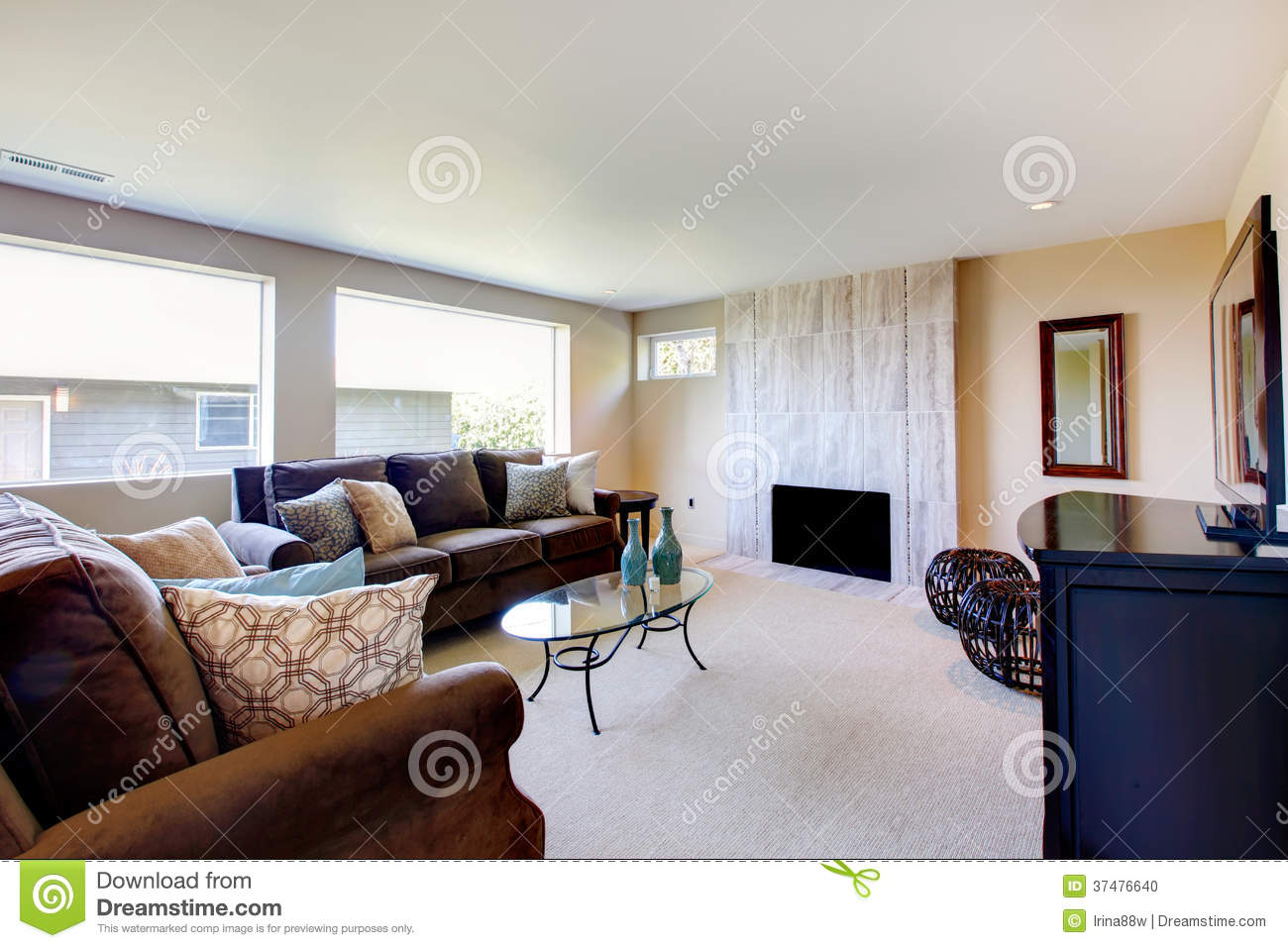 Bright ivory and brown living room stock photo image for Ivory couch living room ideas