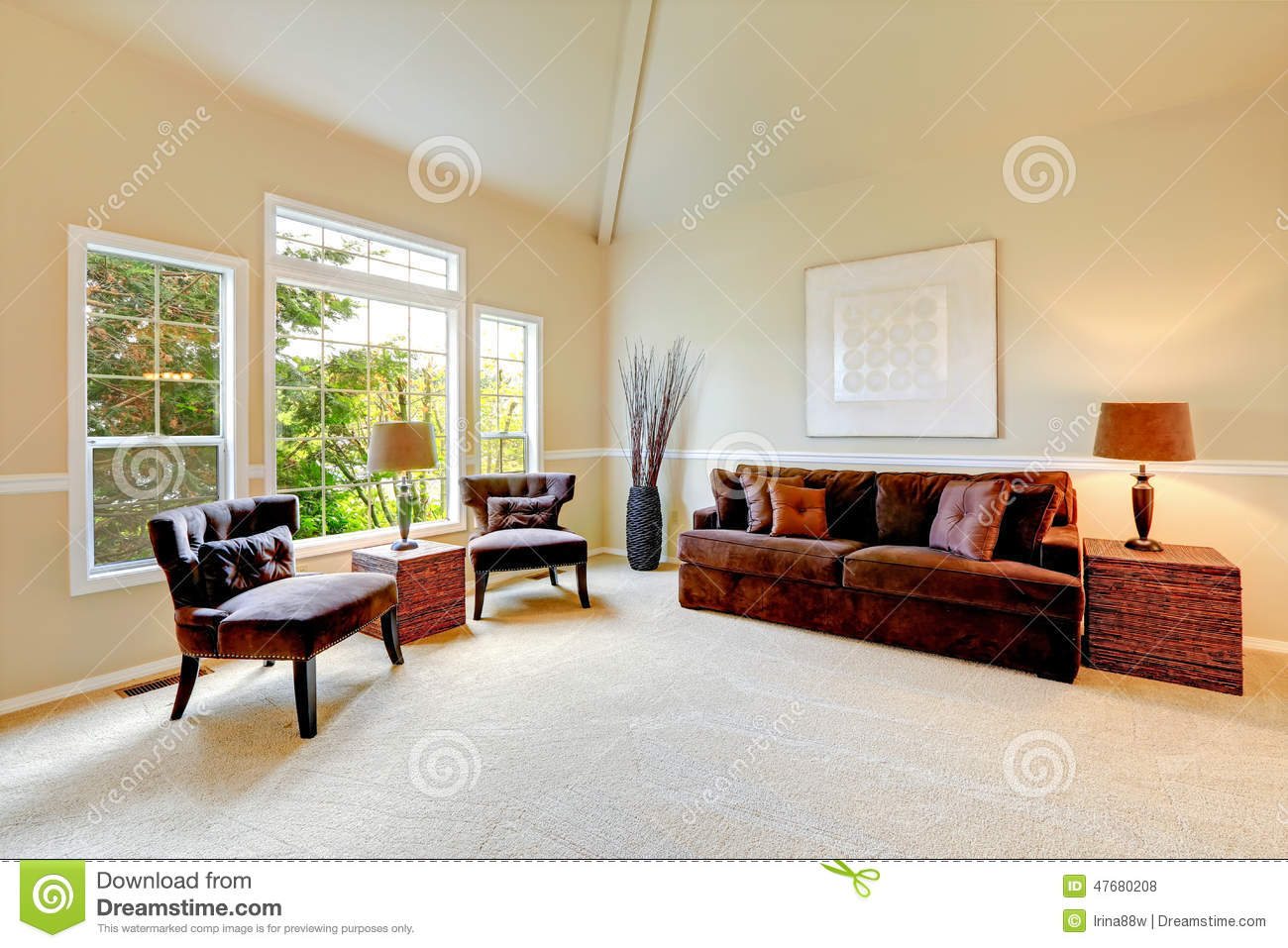 Ivory Living Room Furniture Bright Ivory Living Room With High Vaulted Ceiling And French Wi