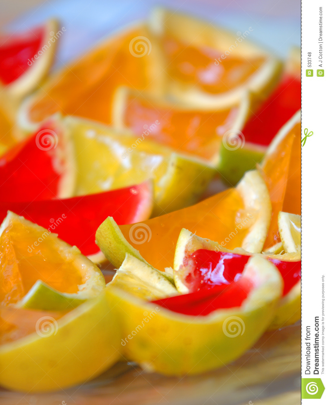 Bright Jelly Childrens Party Food On Orange Rinds Royalty