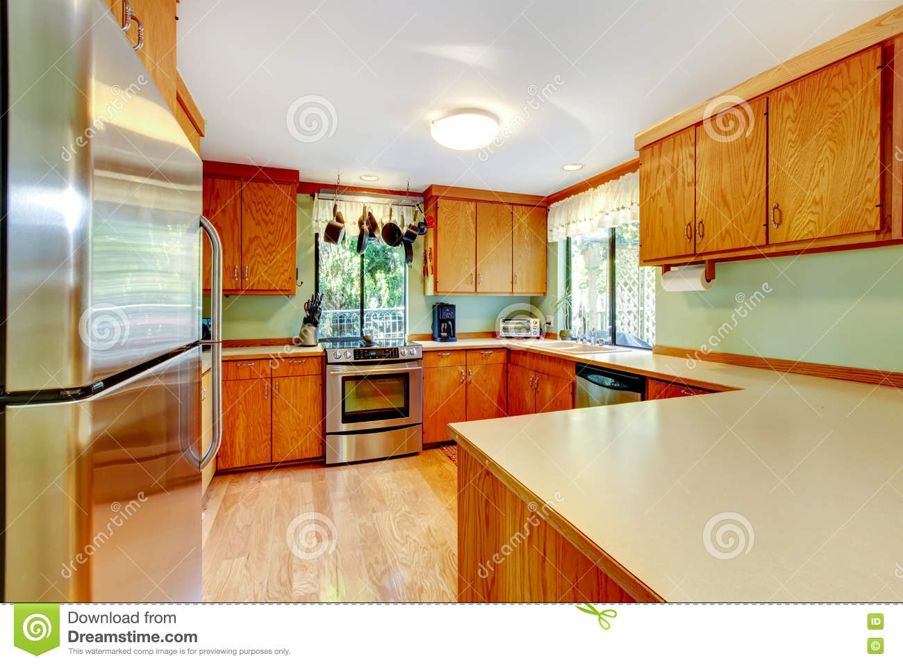 bright kitchen with light brown cabinets and wooden counter tops stock image image of home. Black Bedroom Furniture Sets. Home Design Ideas