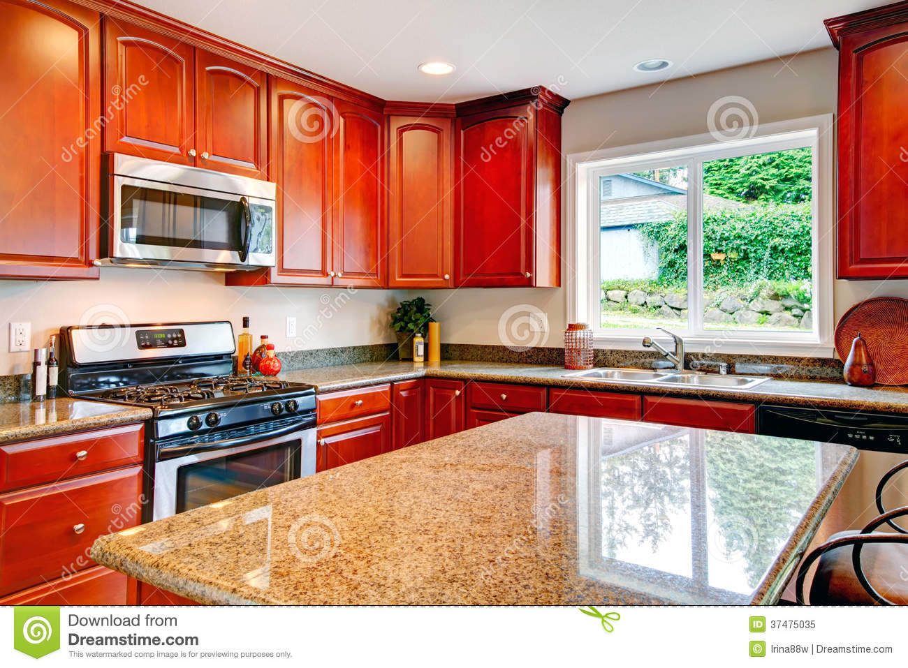 Bright Kitchen Bright Kitchen Room With Cherry Wood Storage Combination Royalty
