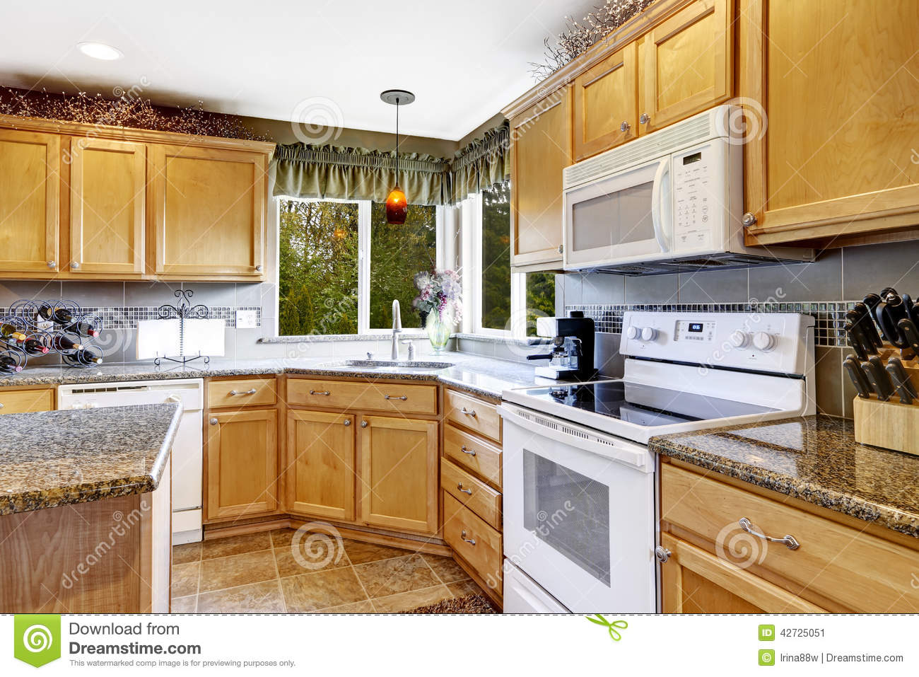 Bright kitchen room interior with white appliances stock for Kitchen design with white appliances