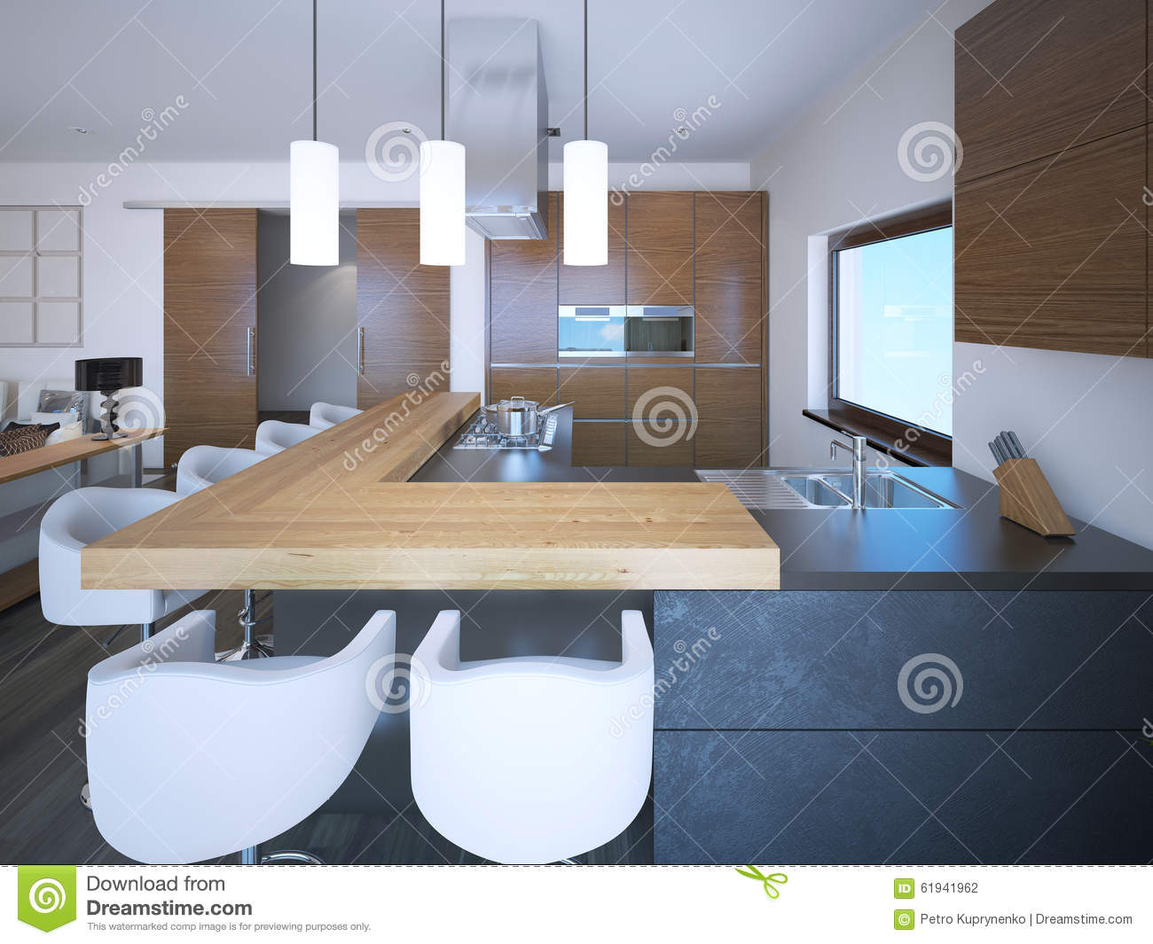 Bright Kitchen Studio Art Deco Style Stock Illustration