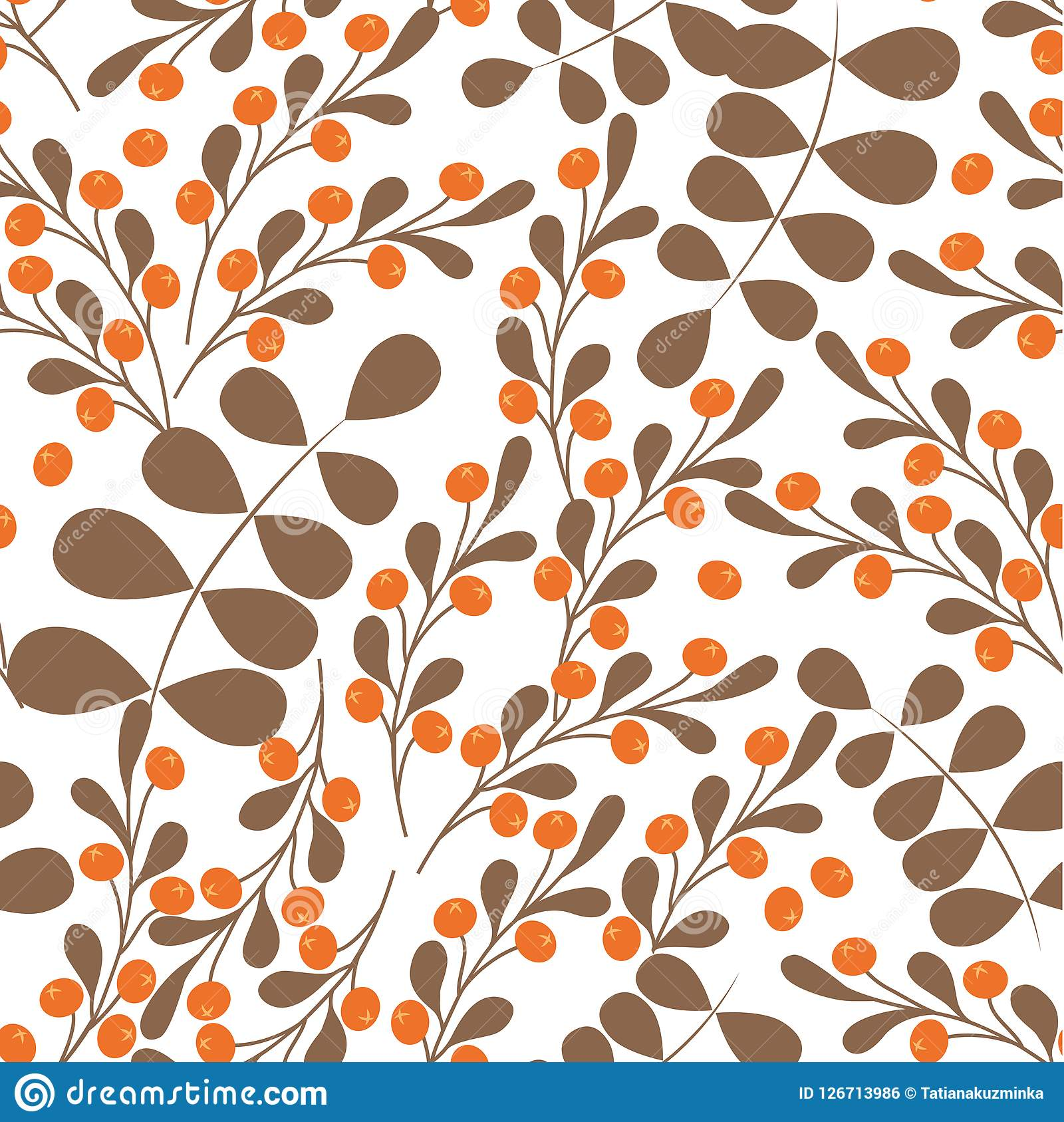 Bright l fall vector seamless background of red berries eaves mountain ash oakautumn background