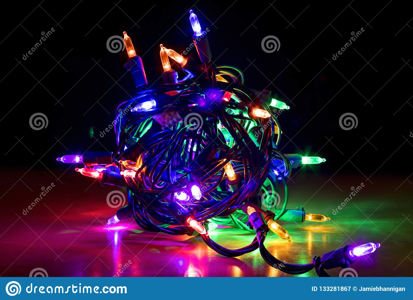 Bright Led Christmas Lights.Close Up Colorful Glowing Bundle Of Led Christmas Lights